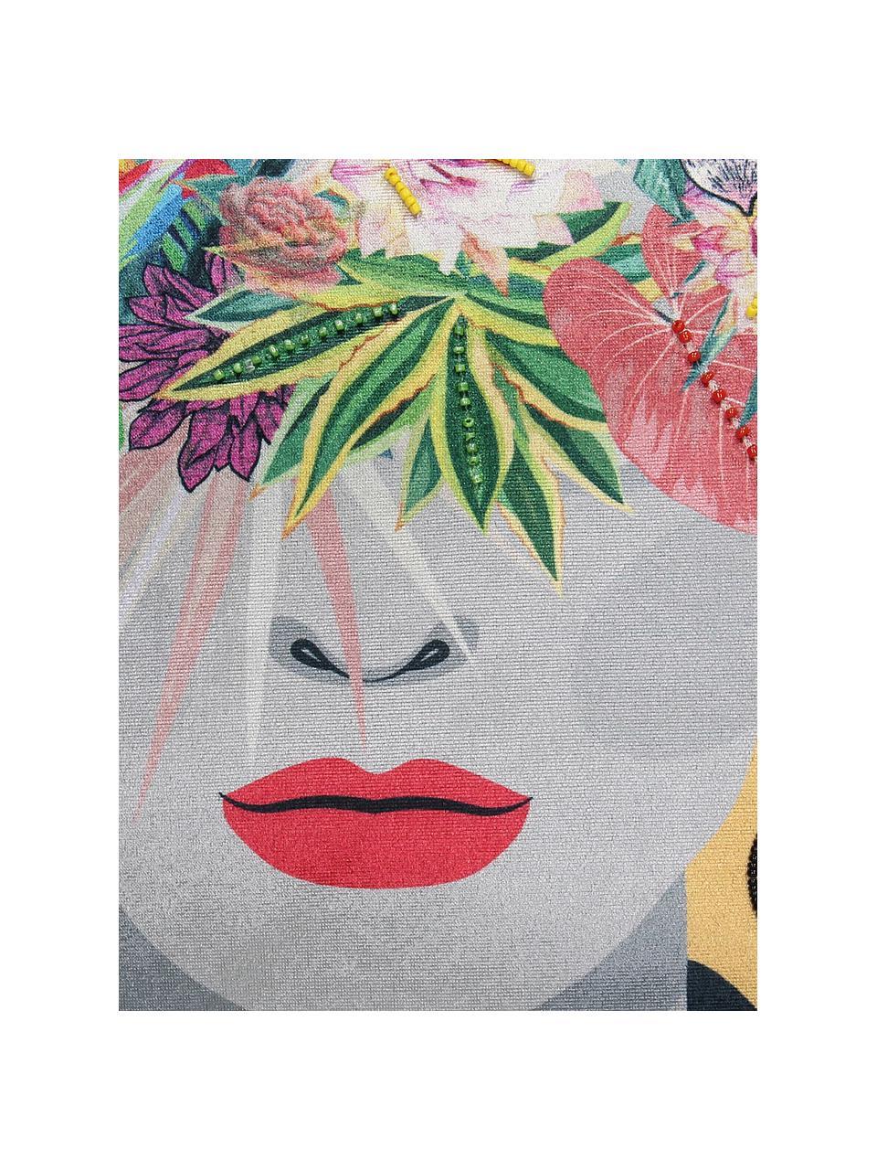 Samt-Kissen Flower Head, mit Inlett, Bezug: 100% Baumwollsamt, Ockergelb, Mehrfarbig, 45 x 45 cm