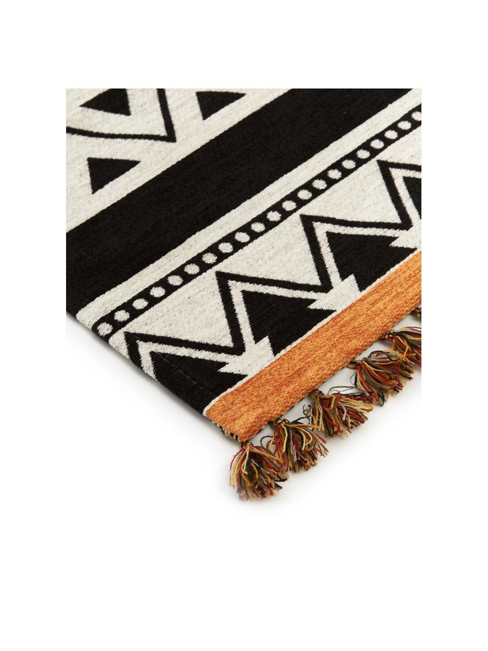 Dywan kilim z chwostami Afar, Bawełna, poliester, Czarny, S 80 x D 150 cm (Rozmiar XS)