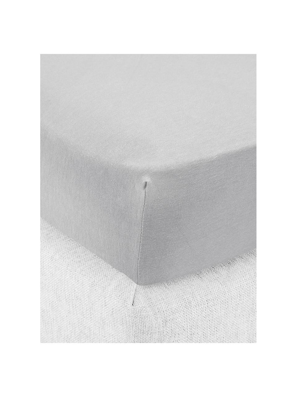 Lenzuolo con angoli in jersey-elastan grigio chiaro Lara, 95% cotone, 5% elastan, Grigio chiaro, Larg. 180 x Lung. 200 cm