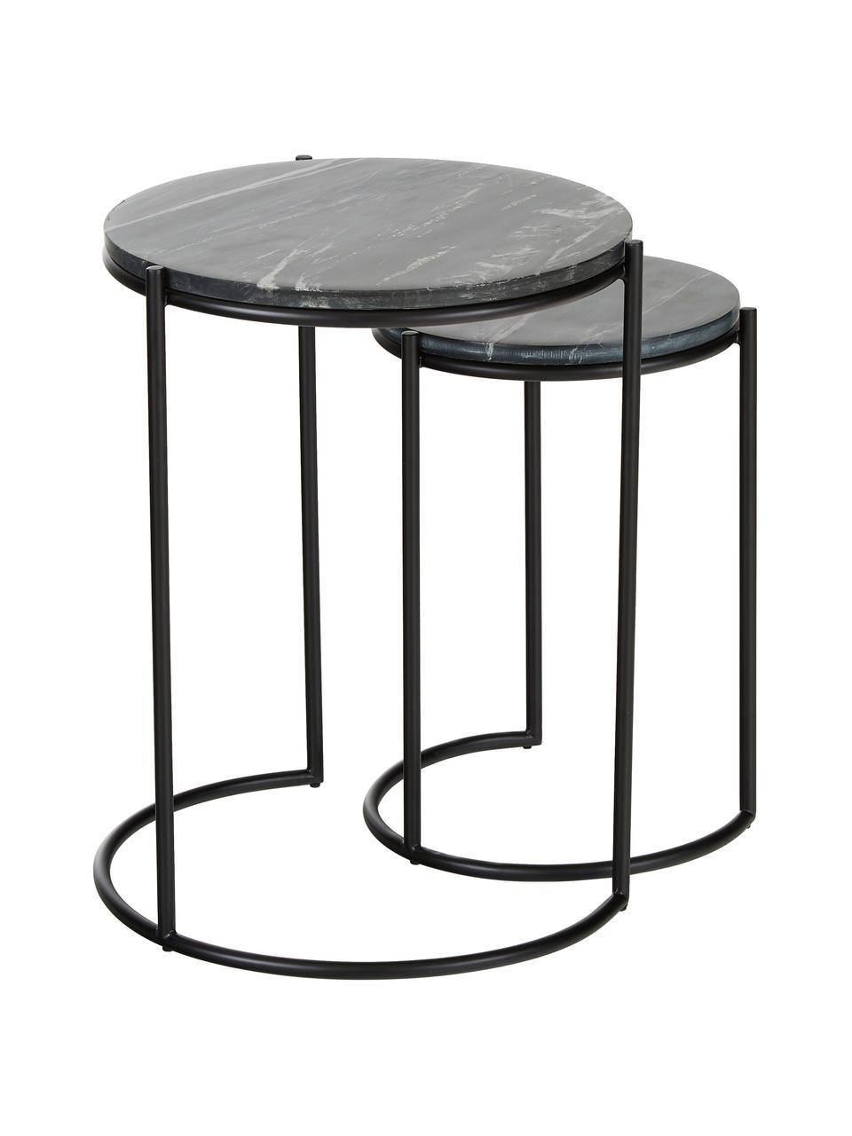 Set 2 tavolini con piano in marmo Ella, Ripiani: marmo, Struttura: metallo verniciato a polv, Piani d'appoggio: marmo nero Struttura: nero opaco, Set in varie misure
