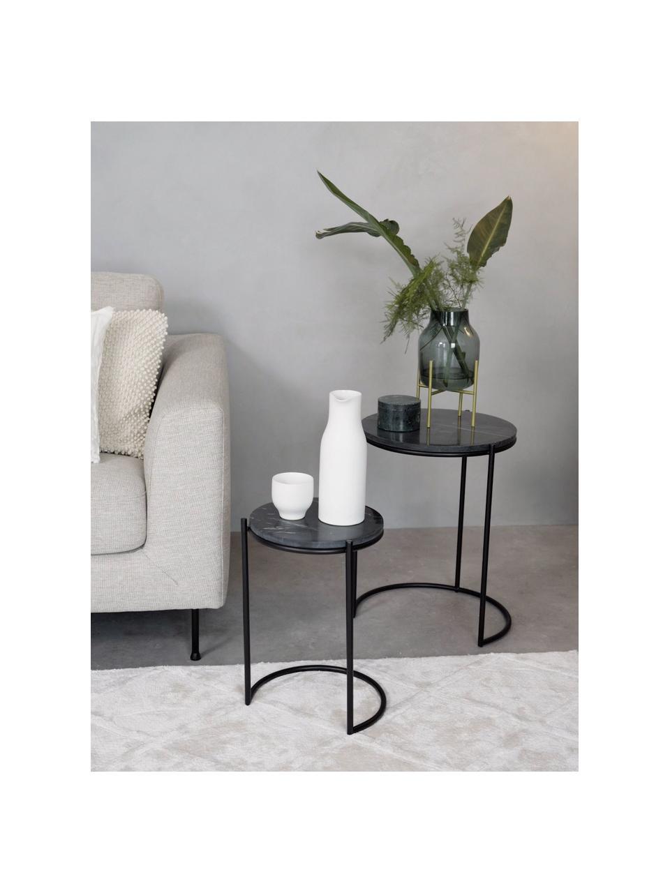 Marmeren bijzettafelset Ella, 2-delig, Frame: gepoedercoat metaal, Tafelbladen: zwart marmer. Frame: mat zwart, Set met verschillende formaten