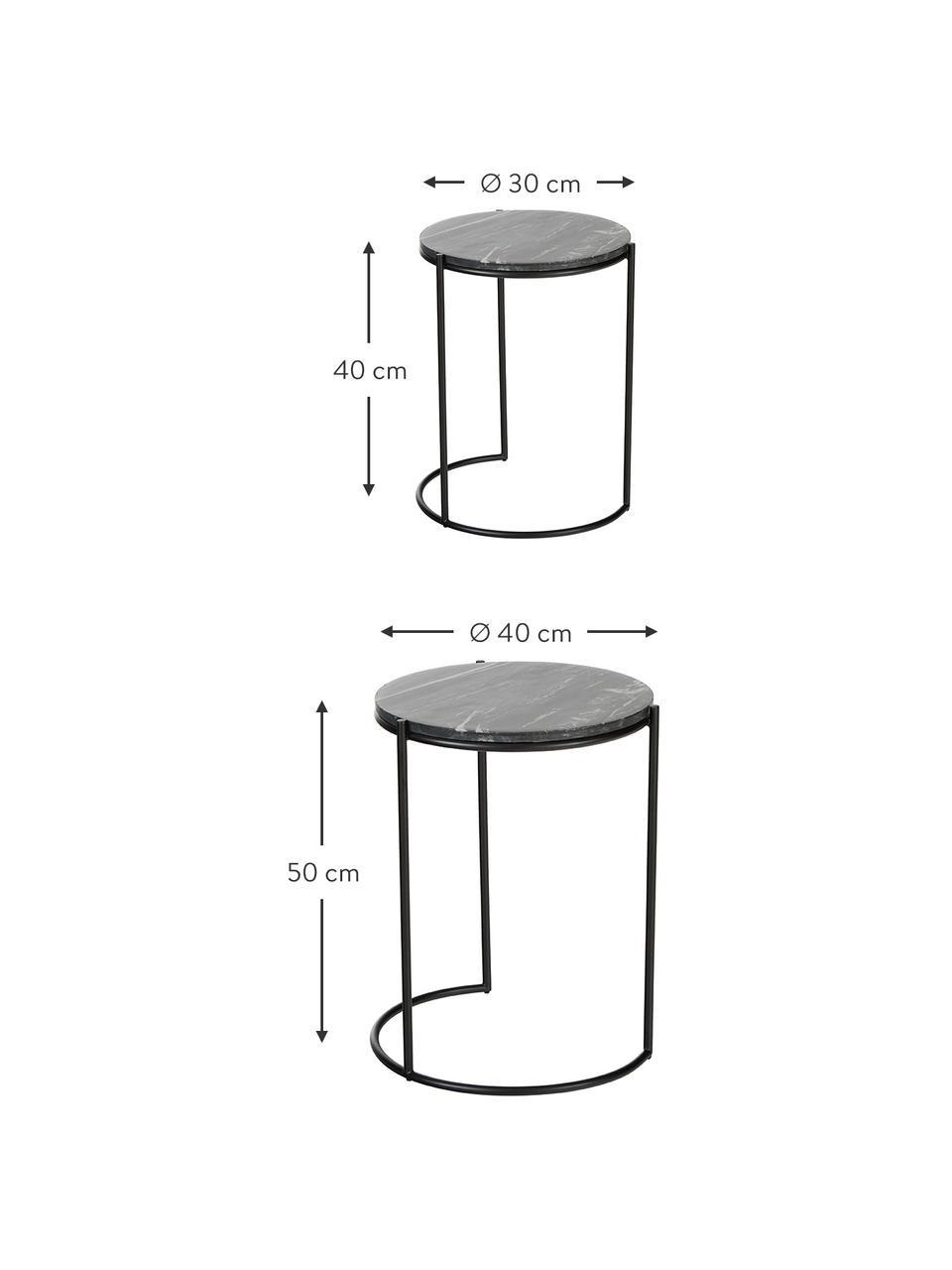 Komplet stolików pomocniczych z marmuru Ella, 2 elem., Czarny marmur, czarny, Komplet z różnymi rozmiarami