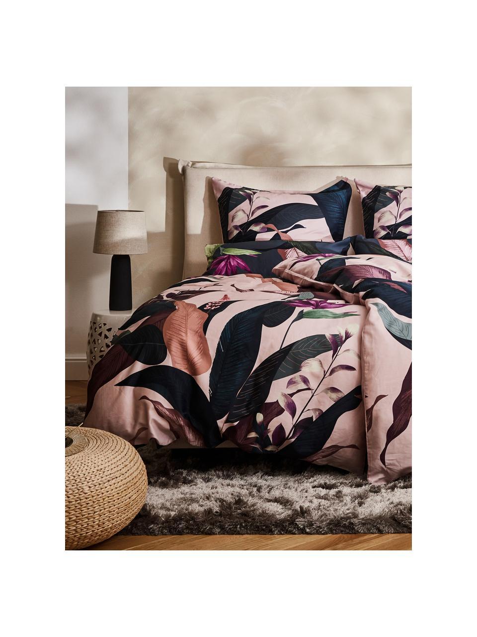 Pościel z satyny bawełnianej Flora, Przód: wielobarwny Tył: brudny różowy, 240 x 220 cm + 2 poduszki 80 x 80 cm