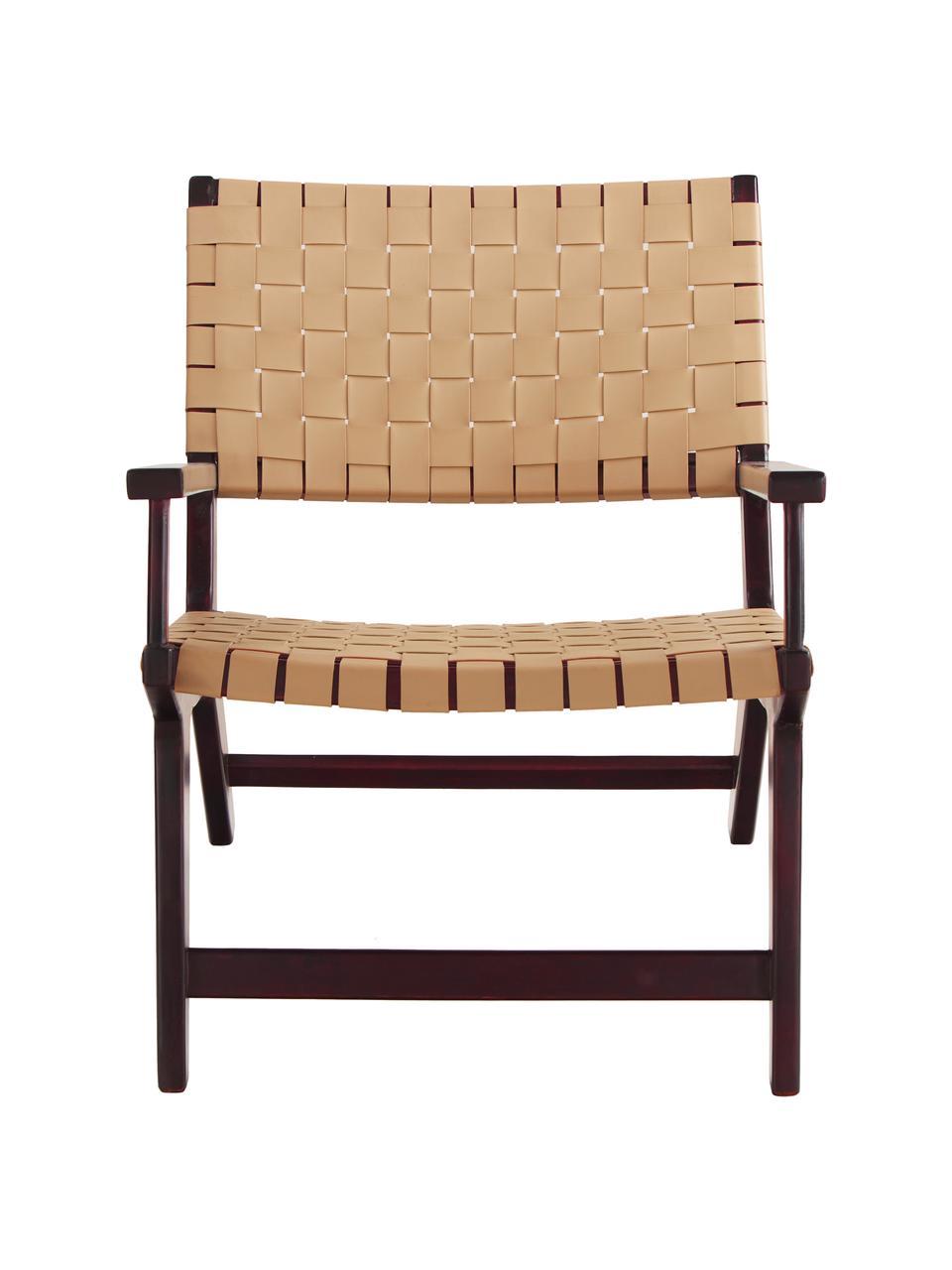 Kunstleder-Sessel Akina in Beige, Sitzfläche: Kunstleder (100% Polyuret, Gestell: Massives Akazienholz, lac, Beige, B 62 x T 74 cm