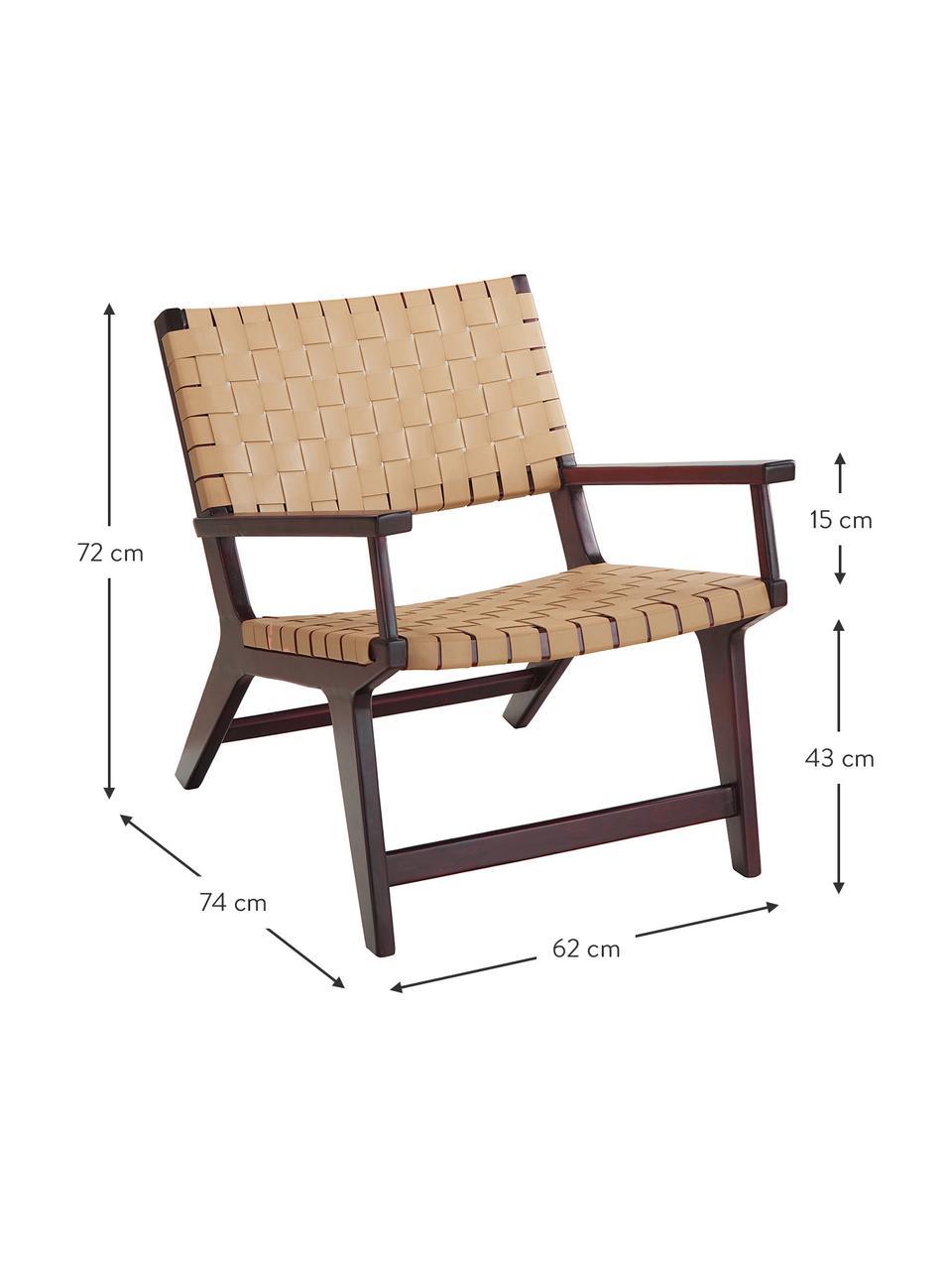 Poltrona in similpelle e legno Akina, Seduta: similpelle (100% poliuret, Struttura: legno massiccio di acacia, Beige, Larg. 62 x Prof. 74 cm