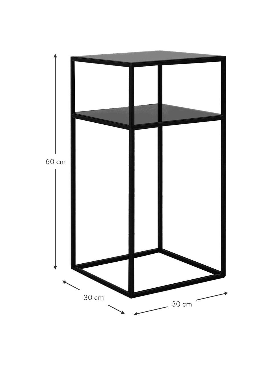 Tavolino  in metallo con piano d'appoggio Tensio, Metallo verniciato a polvere, Nero, Larg. 30 x Prof. 30 cm