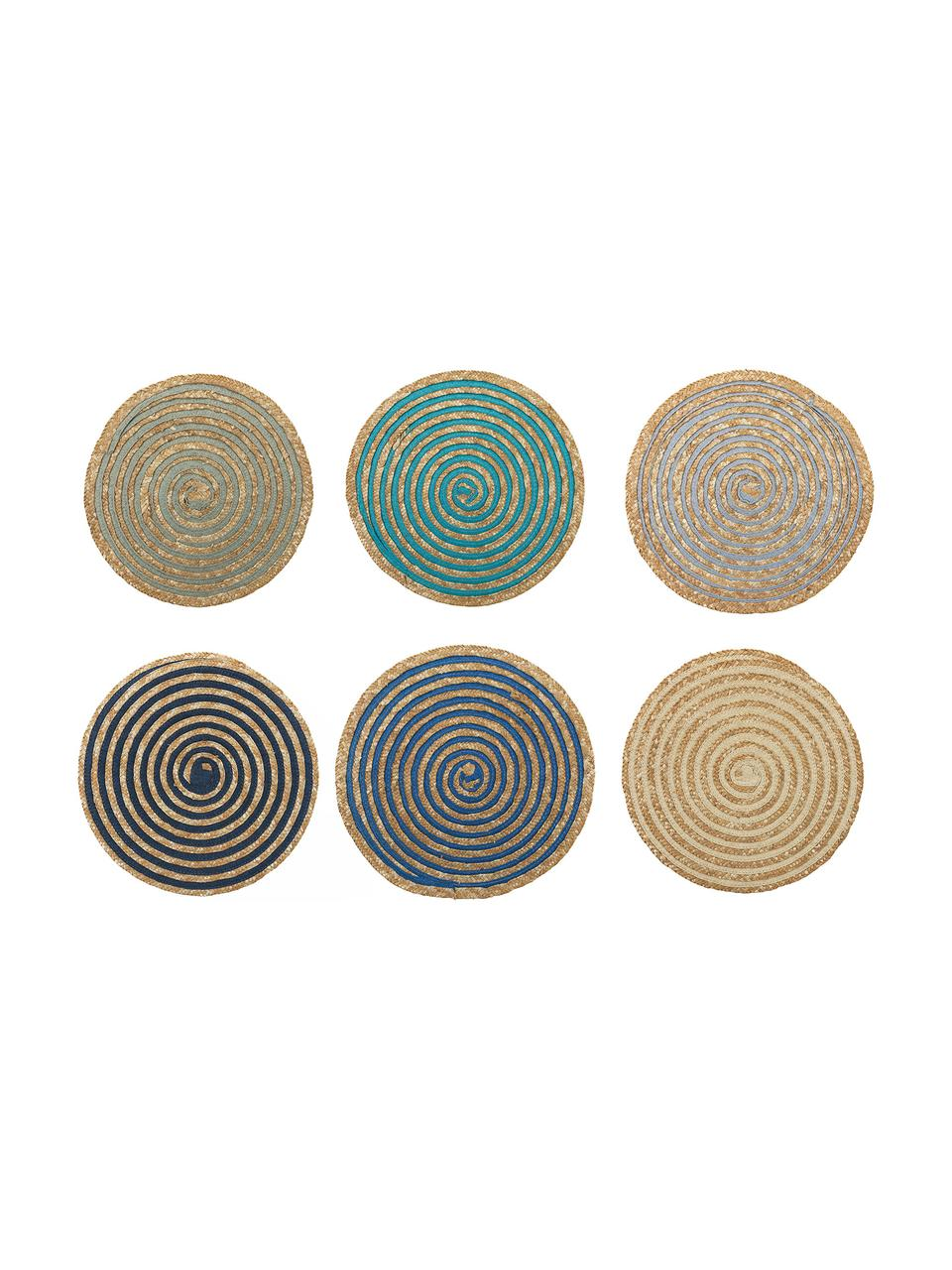 Komplet okrągłych podkładek ze słomy Baita, 6 elem., Włókna łykowe, Beżowy, wielobarwny, Ø 39 cm