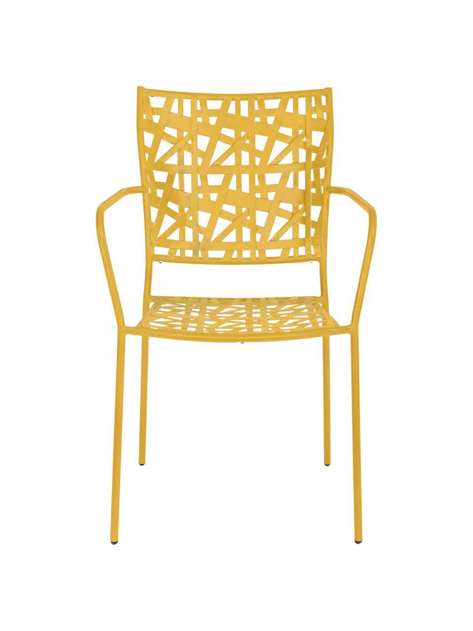 Krzesło ogrodowe z metalu Kelsie, Metal malowany proszkowo, Żółty, S 55 x G 54 cm