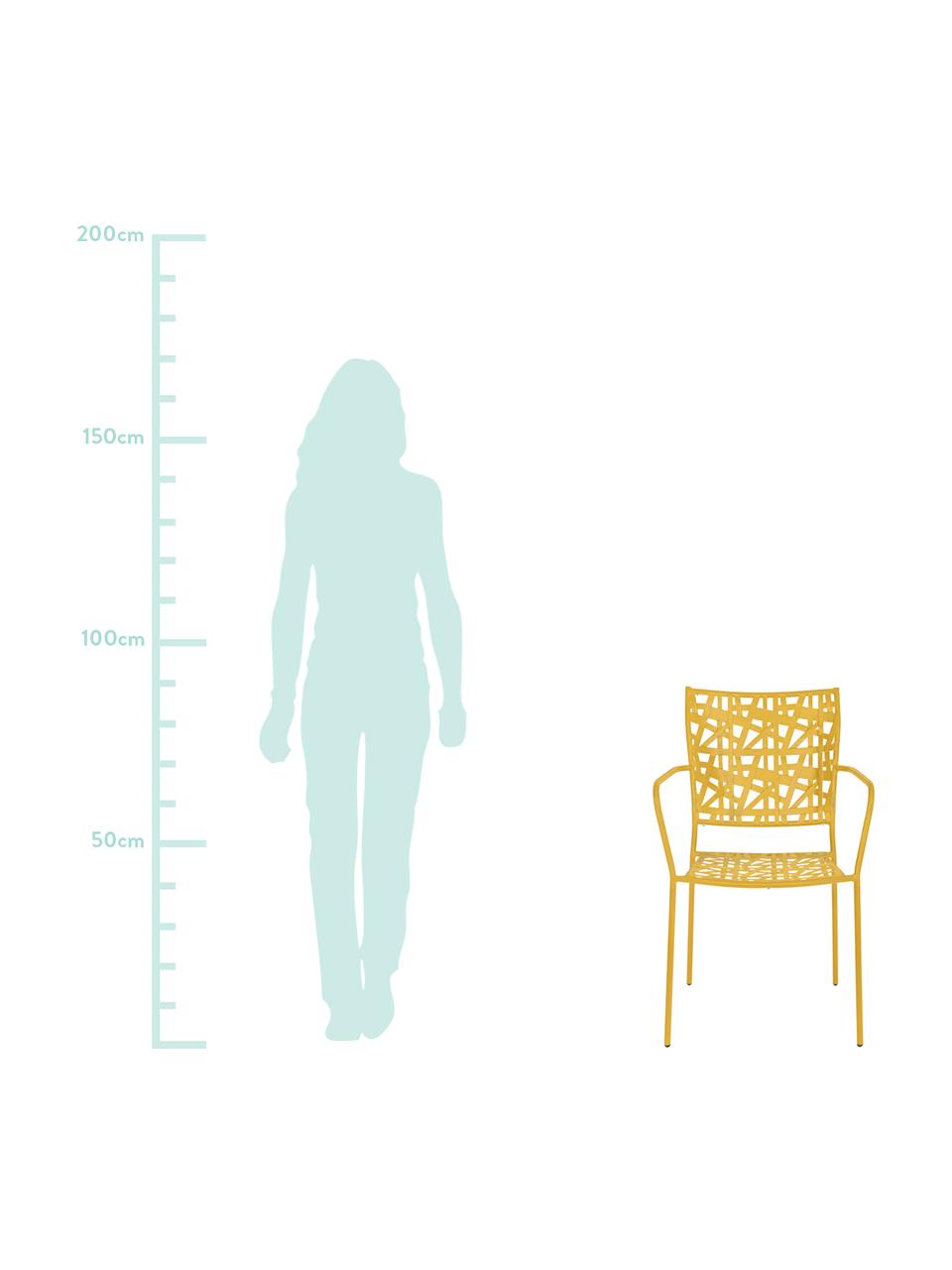 Sedia impilabile da giardino in metallo Kelsie, Metallo verniciato a polvere, Giallo, Larg. 55 x Prof. 54 cm