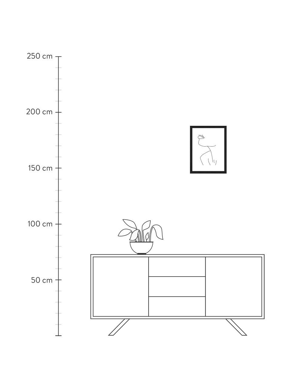 Stampa digitale incorniciata Holli, Immagine: stampa digitale su carta,, Cornice: legno di faggio verniciat, Nero, bianco, Larg. 33 x Alt. 43 cm