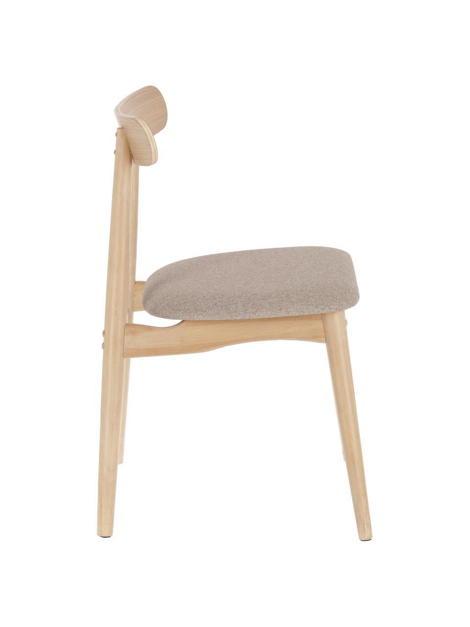 Holzstuhl Nayme mit gepolsteter Sitzfläche, Bezug: Polyester, Rahmen: Gummibaumholz, Gestell: Schichtholz, Braun, Beige, B 48 x T 50 cm