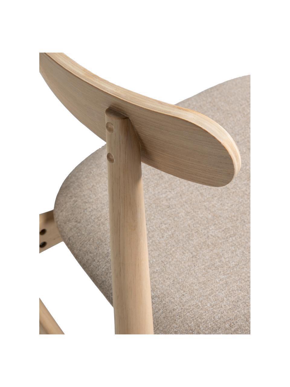 Sedia in legno con seduta imbottita Nayme, Rivestimento: poliestere, Cornice: legno albero della gomma, Struttura: compensato, Marrone, beige, Larg. 48 x Prof. 50 cm