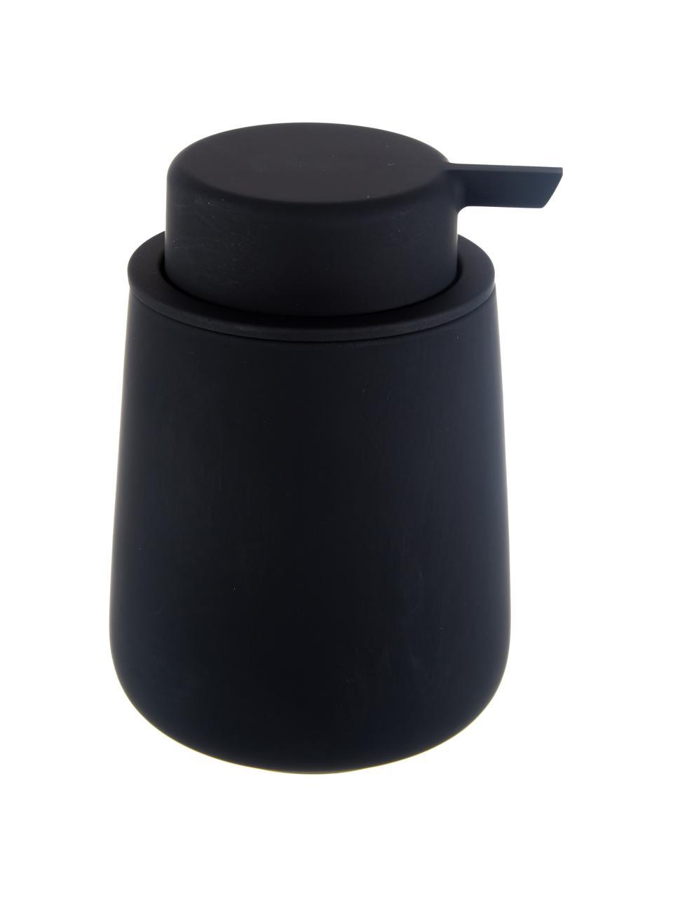 Dispenser sapone in porcellana Nova One, Contenitore: porcellana, Nero opaco, Ø 8 x Alt. 12 cm