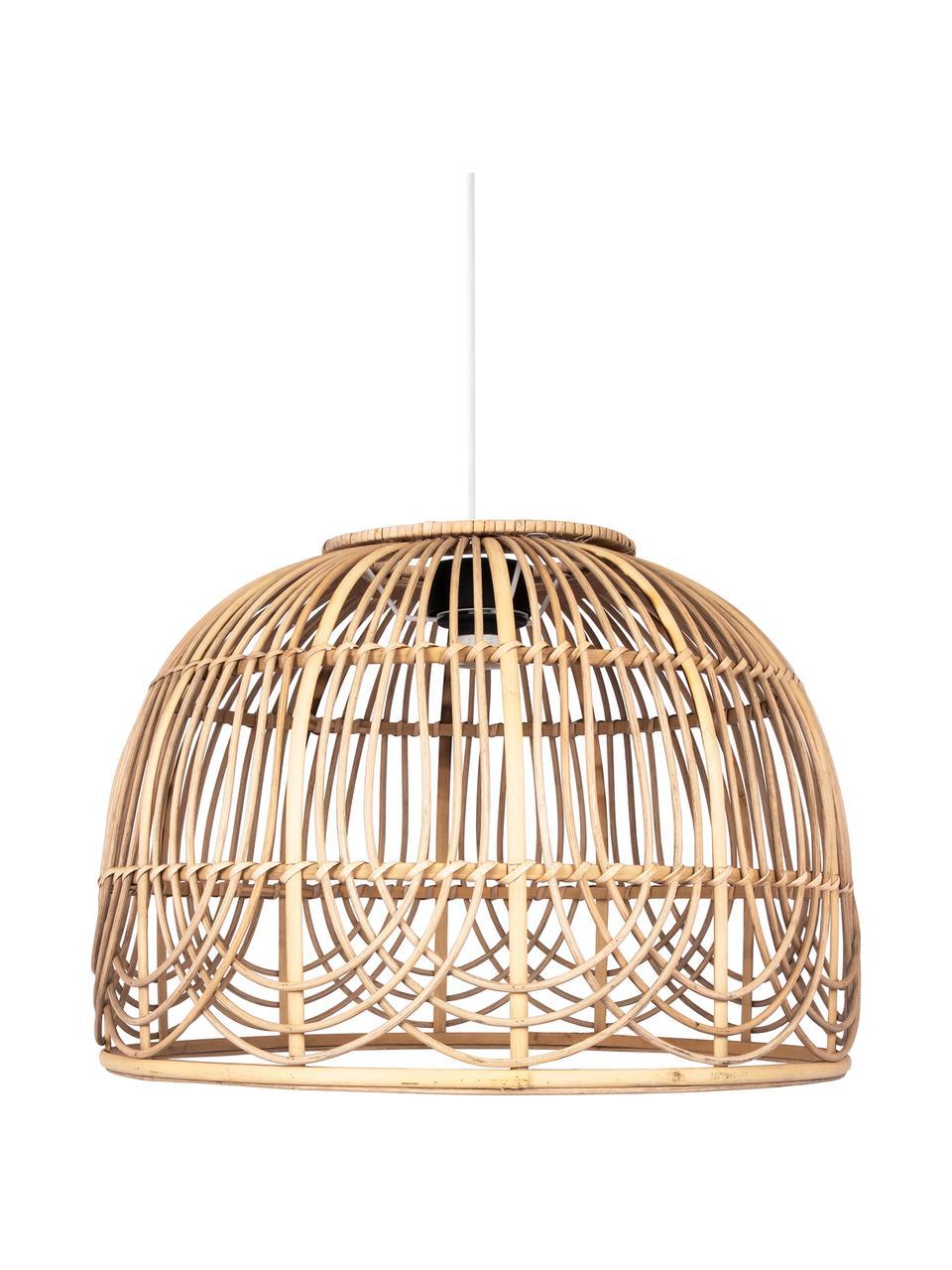 Hanglamp Bahama van rotan, Lampenkap: rotan, Baldakijn: gecoat metaal, Rotan, Ø 35 x H 24 cm
