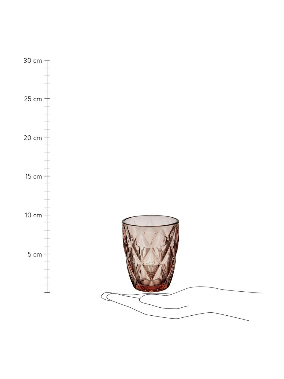 Bicchiere acqua Colorado 4 pz, Vetro, Rosa, trasparente, Ø 8 x Alt. 10 cm