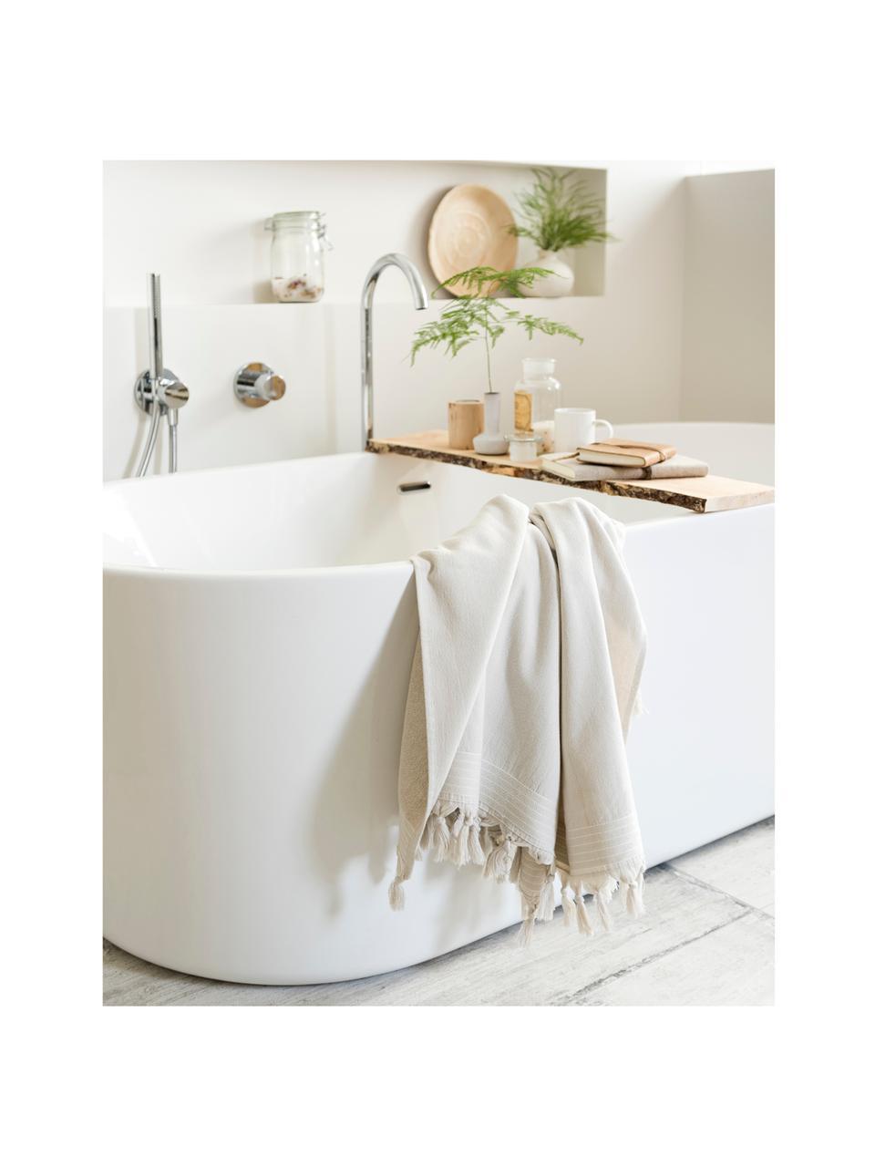Ręcznik plażowy Soft Cotton, Jasny beżowy, biały, S 100 x D 180 cm