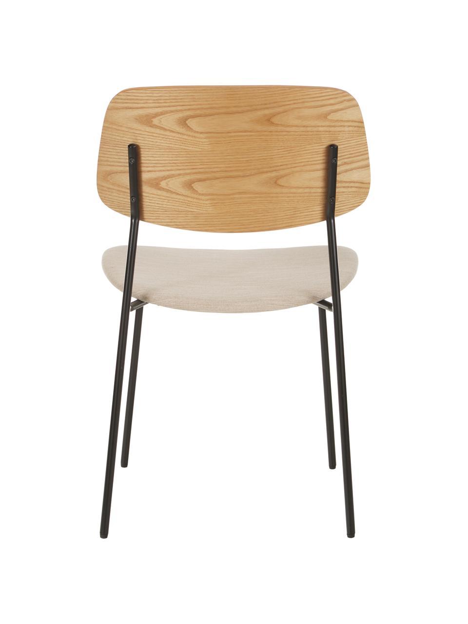Krzesło z drewna z tapicerowanym siedziskiem Nadja, 2 szt., Tapicerka: poliester Dzięki tkaninie, Tapicerka: pianka, Nogi: metal malowany proszkowo, Beżowy, S 51 x G 52 cm