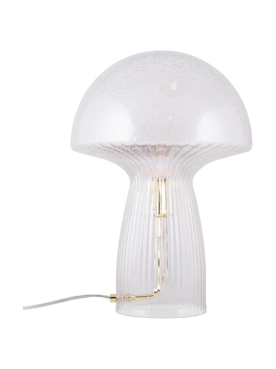 Lampada da tavolo di design in vetro Fungo, Trasparente, dorato, Ø 30 x Alt. 42 cm