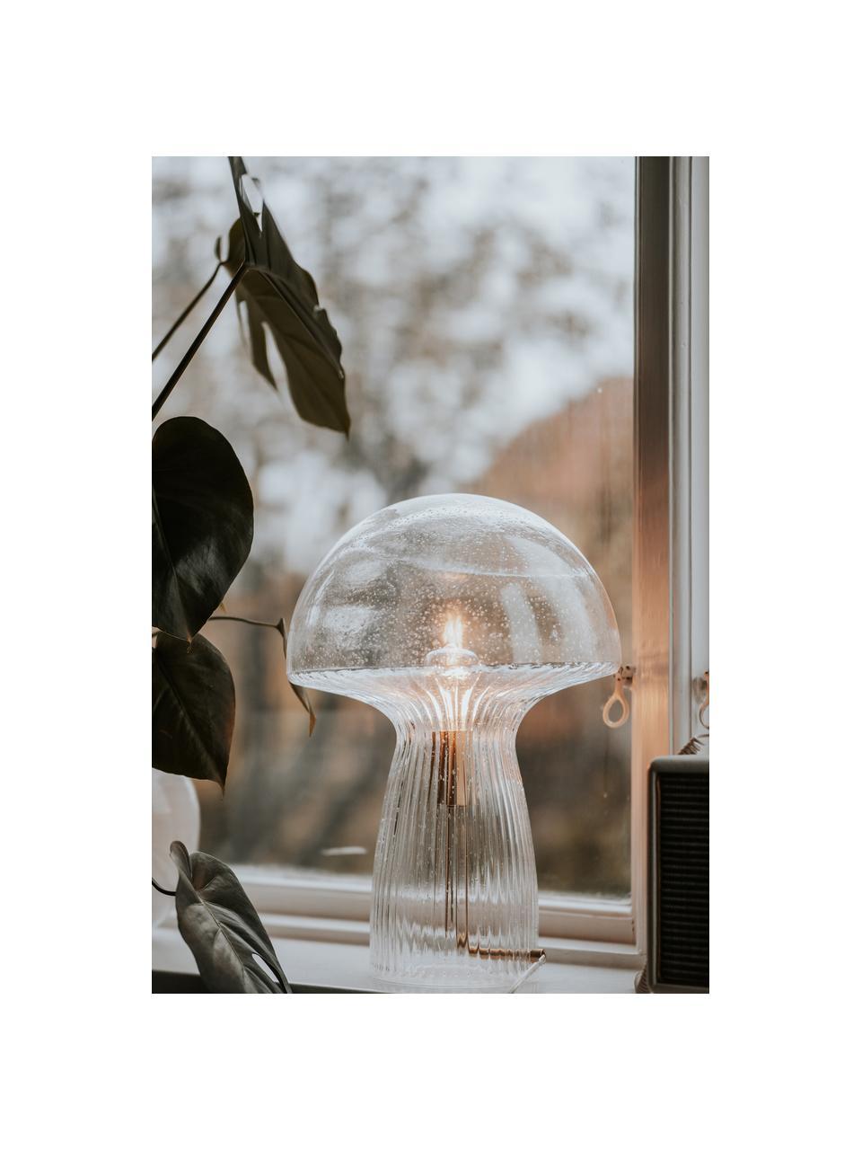 Lampa stołowa ze szkła Fungo, Transparentny, odcienie złotego, Ø 30 x W 42 cm