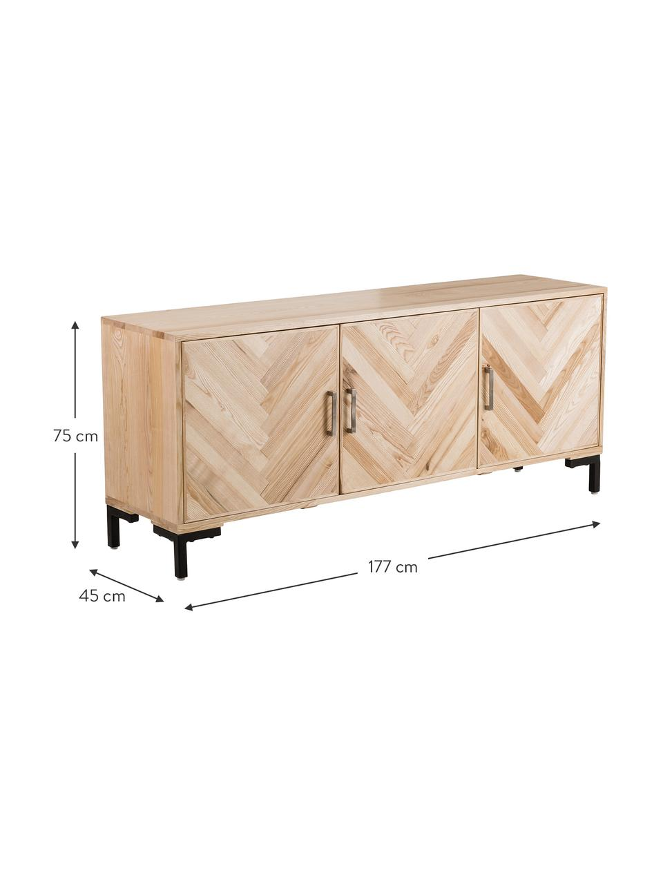 Komoda z litego drewna jesionowego Leif, Korpus: lite drewno jesionowe, la, Nogi: metal malowany proszkowo, Drewno jesionowe, S 177 x W 75 cm