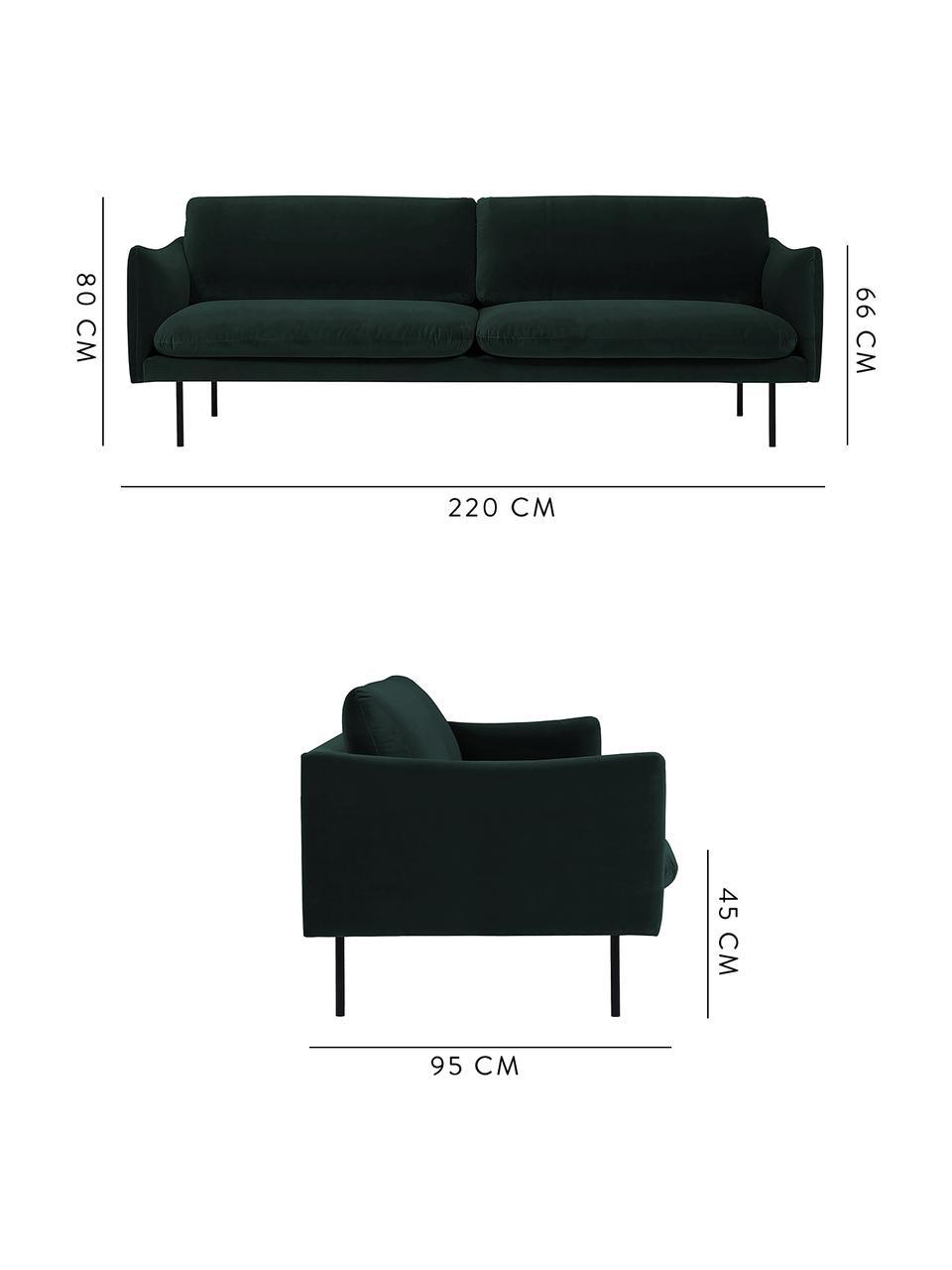 Sofa z aksamitu z metalowymi nogami Moby (3-osobowa), Tapicerka: aksamit (wysokiej jakości, Stelaż: lite drewno sosnowe, Nogi: metal malowany proszkowo, Aksamitny ciemny zielony, S 220 x G 95 cm
