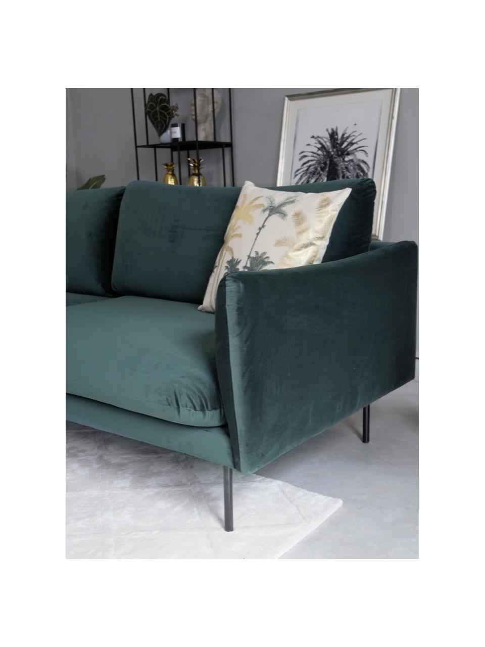 Canapé 3places velours vert foncé pieds en métal Moby, Velours vert foncé
