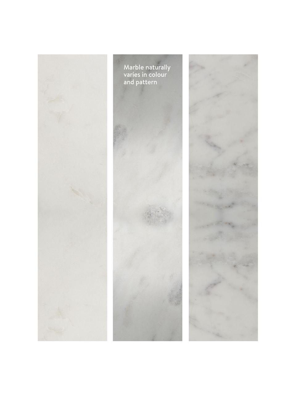 Marmor-Beistelltisch Alys, Tischplatte: Marmor, Gestell: Metall, pulverbeschichtet, Weißer Marmor, Silberfarben, 45 x 50 cm