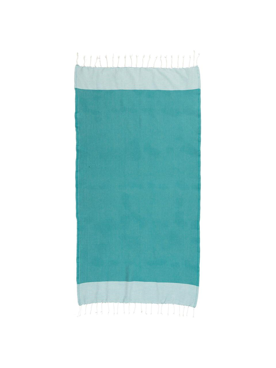 Ręcznik plażowy Ibiza, 100% bawełna, Bardzo niska gramatura, 200 g/m², Niebieskozielony, biały, D 100 x S 200 cm