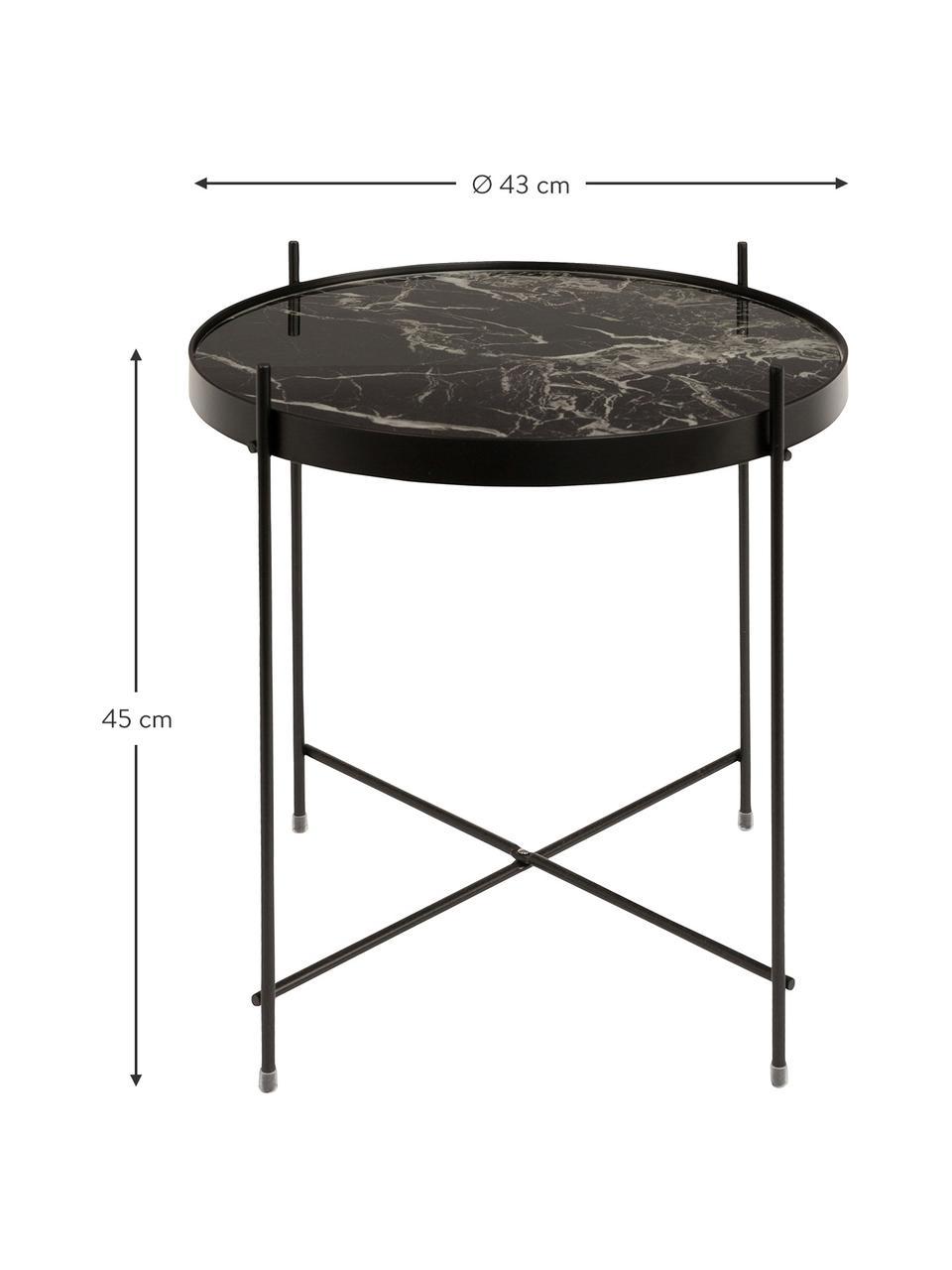 Tavolino-vassoio con piano in vetro effetto marmo Cupid, Struttura: metallo verniciato a polv, Nero, Ø 43 x Alt. 45 cm