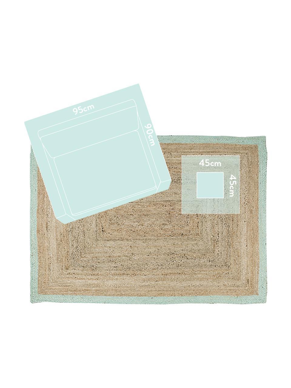 Handgefertigter Jute-Teppich Shanta mit mintgrünem Rand, 100% Jute, Jute, Mintgrün, B 160 x L 230 cm (Größe M)