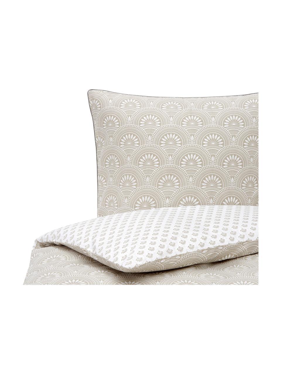 Dwustronna pościel z bawełny organicznej Poliana, Beżowy, biały, 240 x 220 cm + 2 poduszki 80 x 80 cm