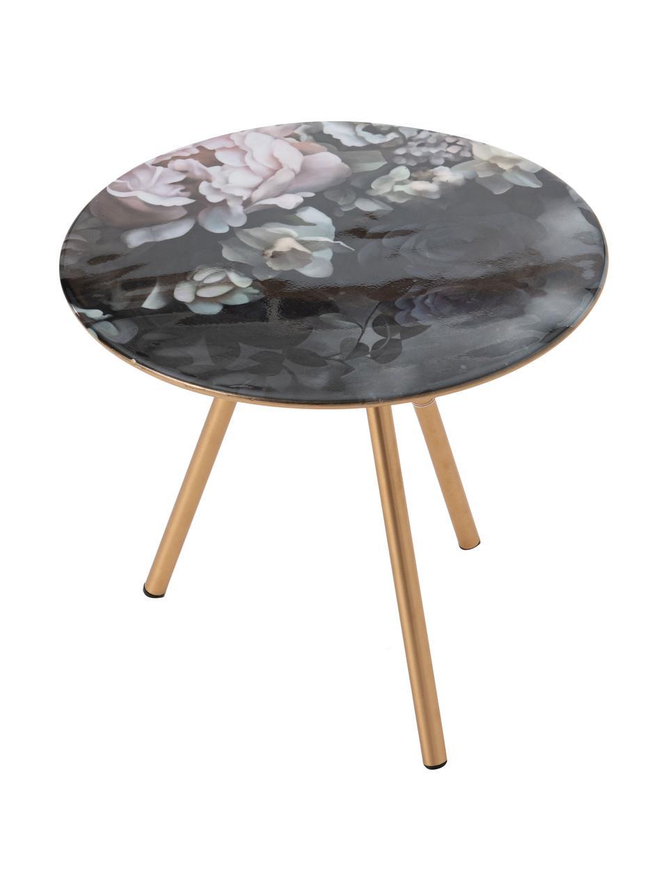 Tavolino con motivo floreale Rosa, Gambe: metallo, Nero, dorato, multicolore, Larg. 41 x Prof. 41 cm