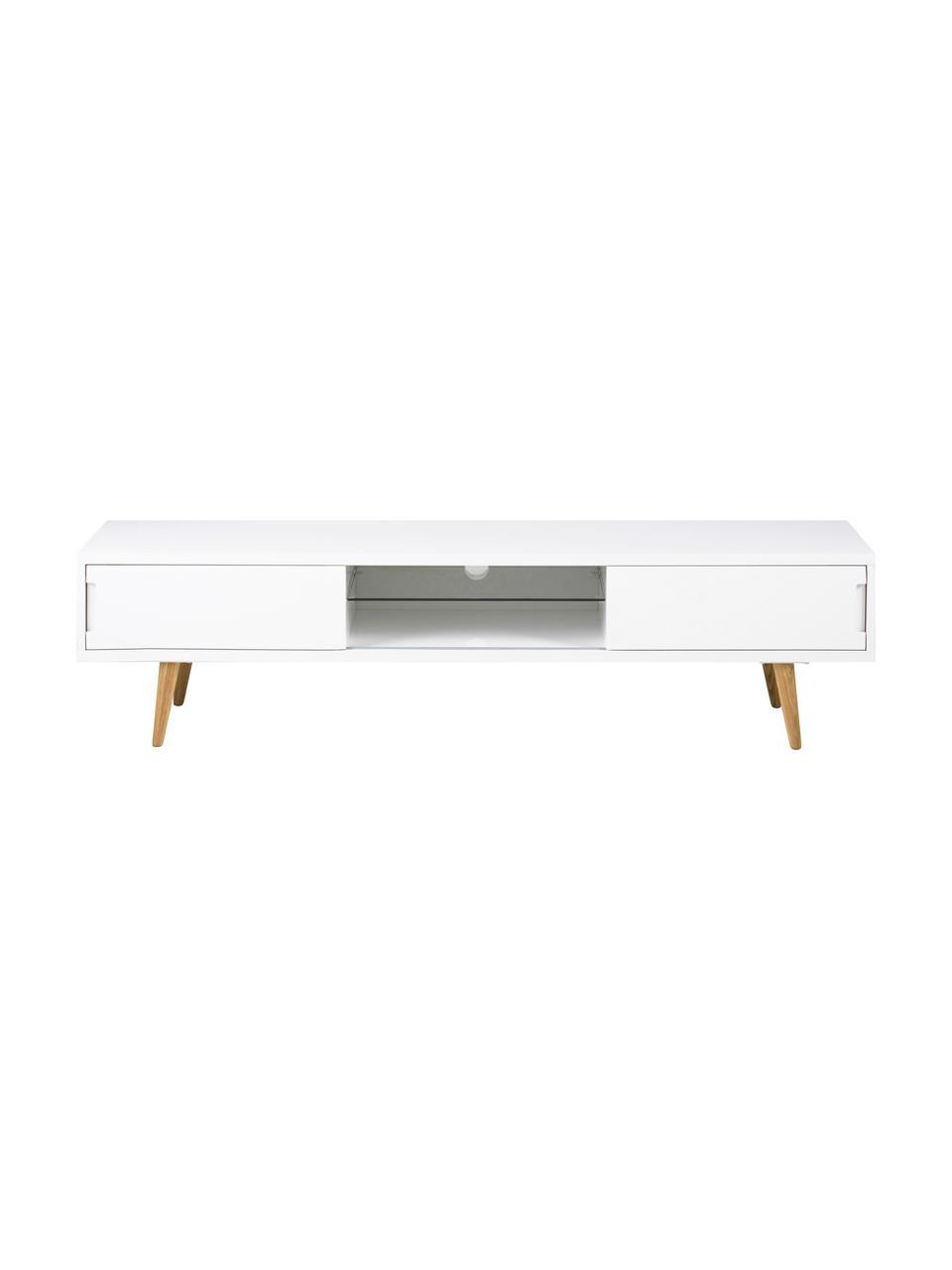 TV-Lowboard Cassie in Weiß Hochglanz, Beine: Esche, massiv, geölt, Weiß, Braun, 180 x 46 cm