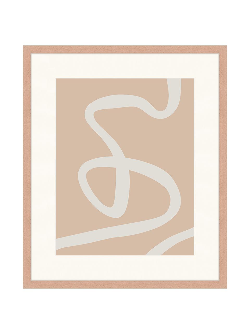 Gerahmter Digitaldruck Abstract Beige Drawing, Bild: Digitaldruck auf Papier, , Rahmen: Holz, lackiert, Front: Plexiglas, Braun, Weiß, 53 x 63 cm