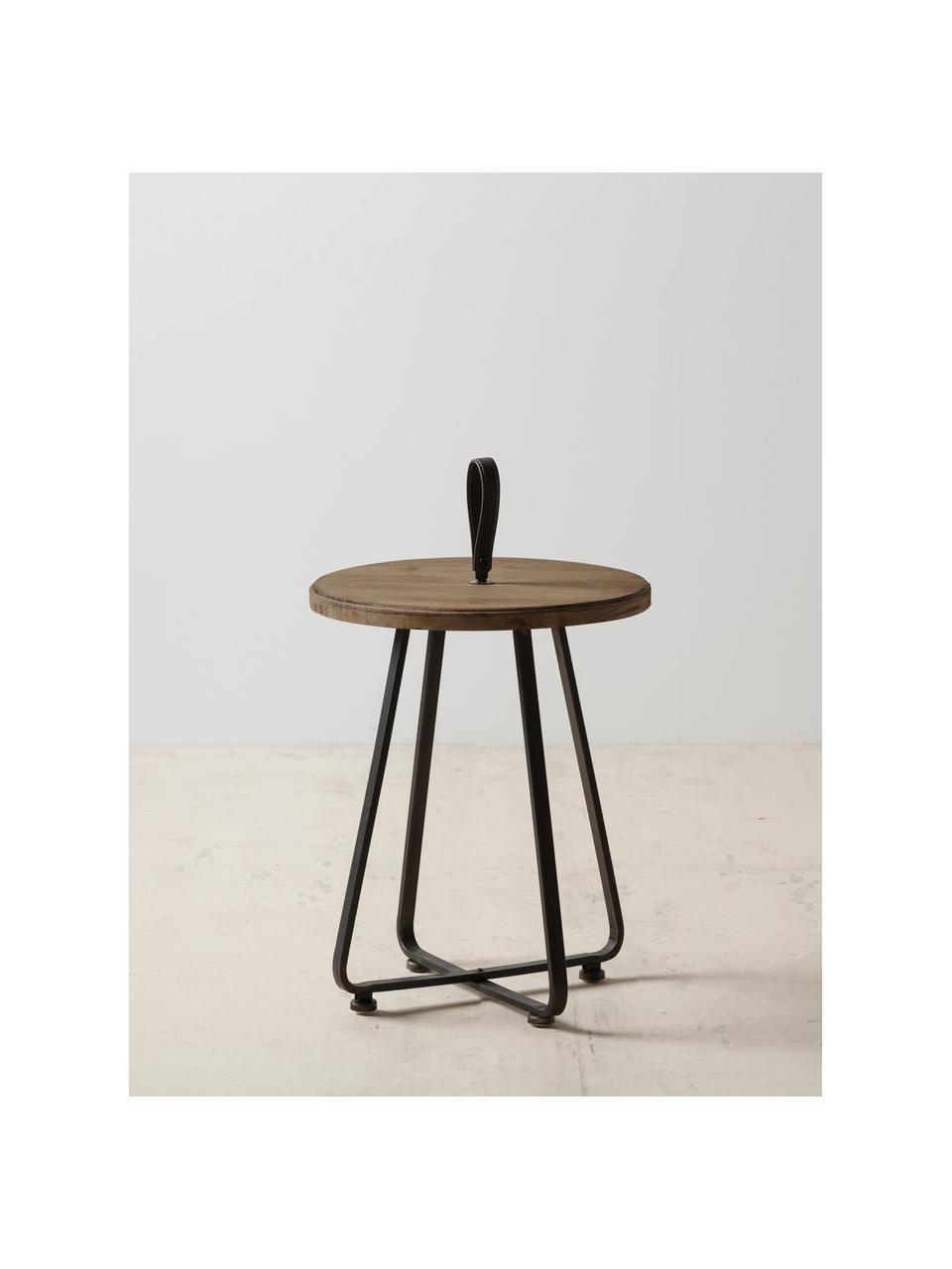 Tavolino in legno di abete Norda, Struttura: metallo, Manico: pelle, Marrone, nero, Ø 40 x Alt. 50 cm