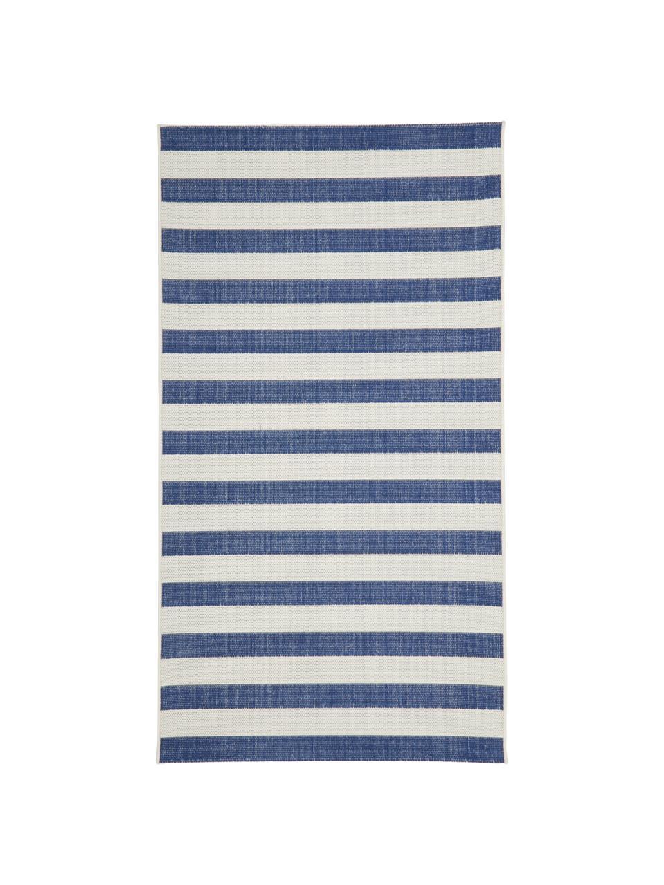 Tappeto blu/bianco a righe da interno-esterno Axa, 86% polipropilene, 14% poliestere, Bianco crema, blu, Larg. 200 x Lung. 290 cm  (taglia L)