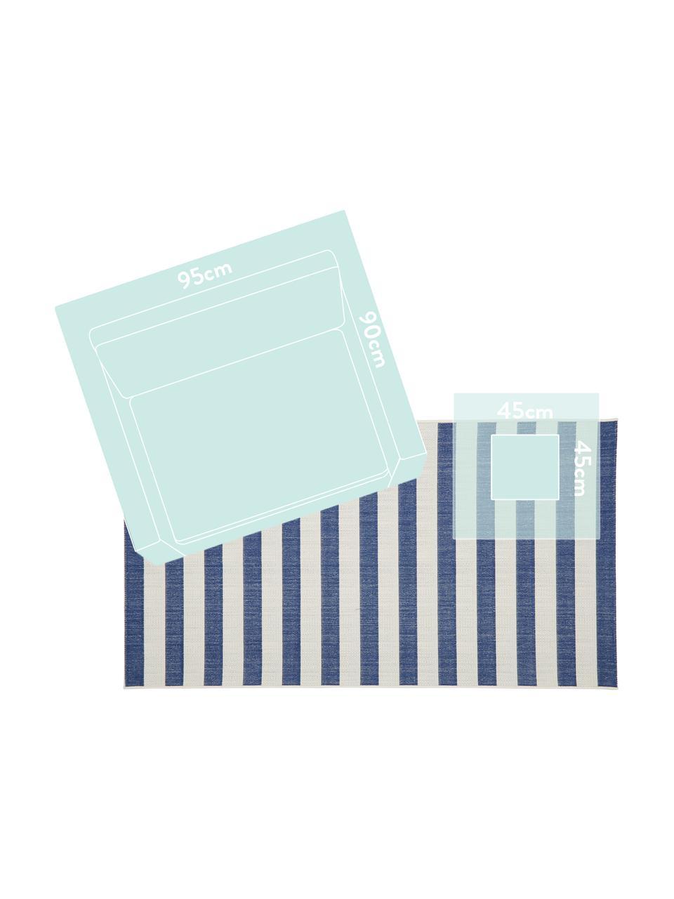 Dywan wewnętrzny/zewnętrzny Axa, 86% polipropylen, 14% poliester, Kremowobiały, niebieski, S 200 x D 290 cm (Rozmiar L)