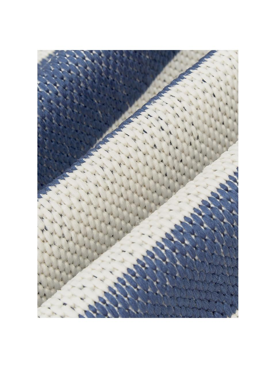 Tappeto a righe color  blu/bianco da interno-esterno Axa, 86% polipropilene, 14% poliestere, Bianco crema, blu, Larg. 200 x Lung. 290 cm  (taglia L)
