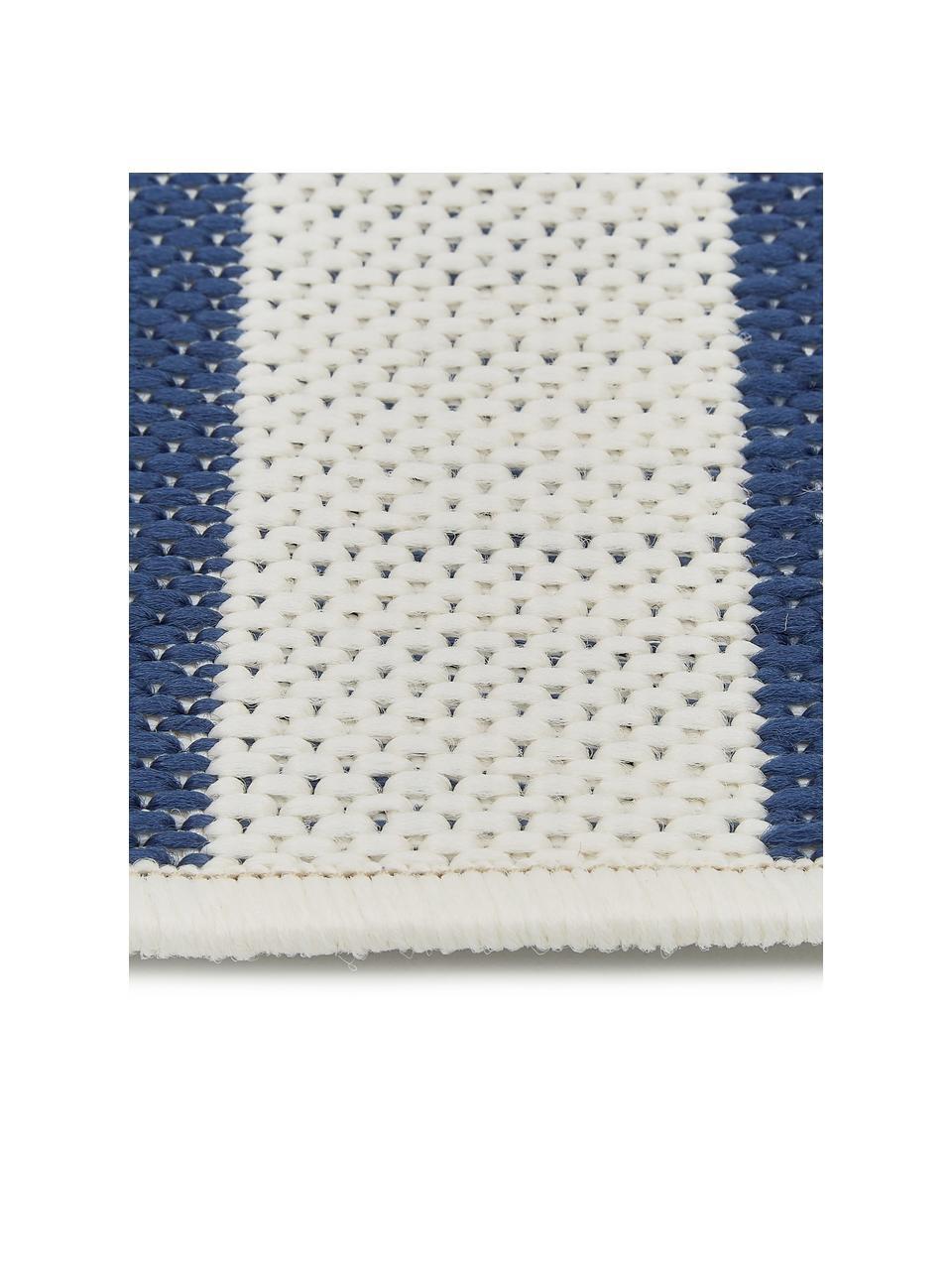 Gestreifter In- & Outdoor-Teppich Axa in Blau/Weiß, 86% Polypropylen, 14% Polyester, Cremeweiß, Blau, B 200 x L 290 cm (Größe L)