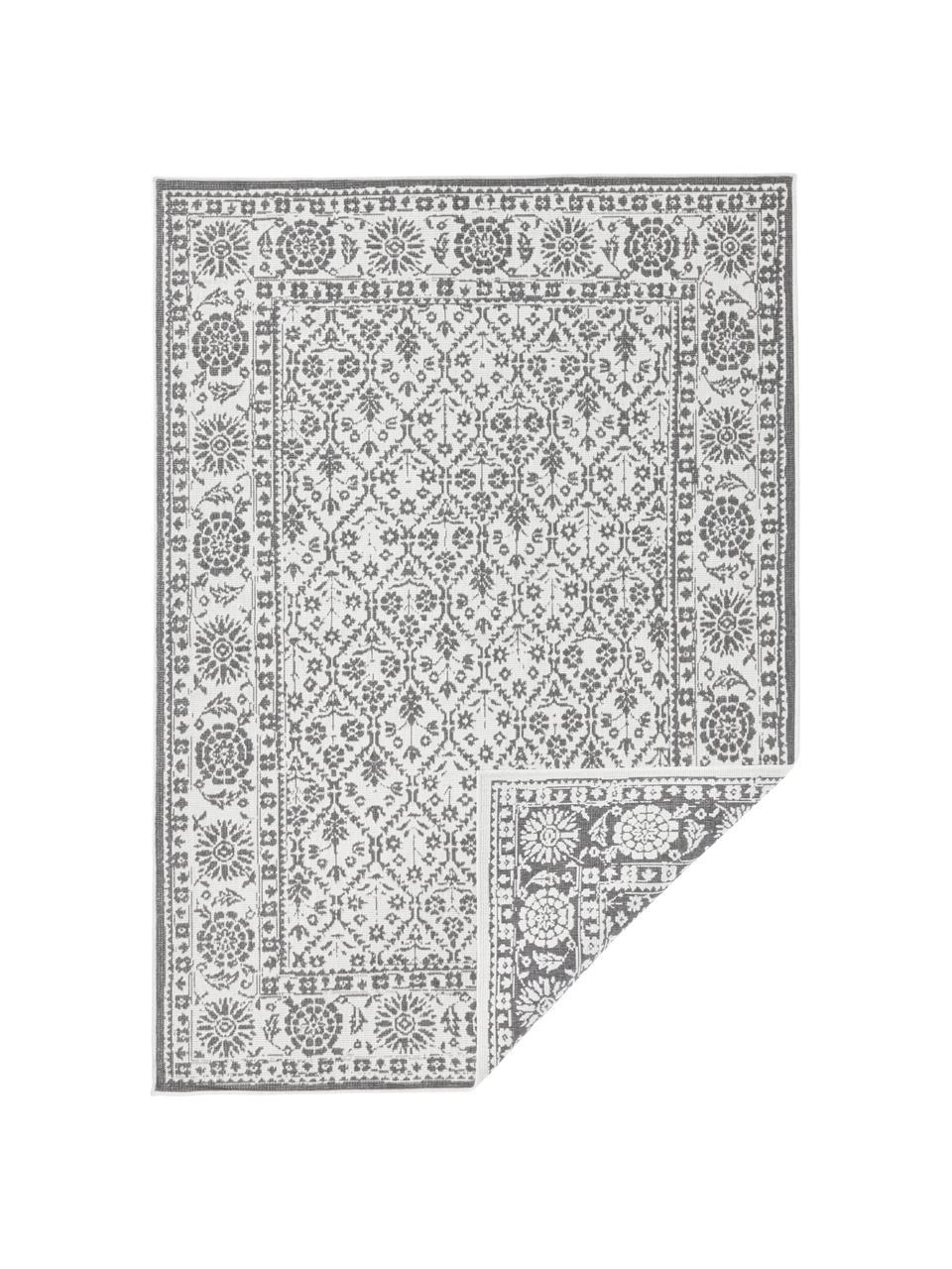Dwustronny dywan wewnętrzny/zewnętrzny vintage Curacao, Szary, odcienie kremowego, S 200 x D 290 cm (Rozmiar L)