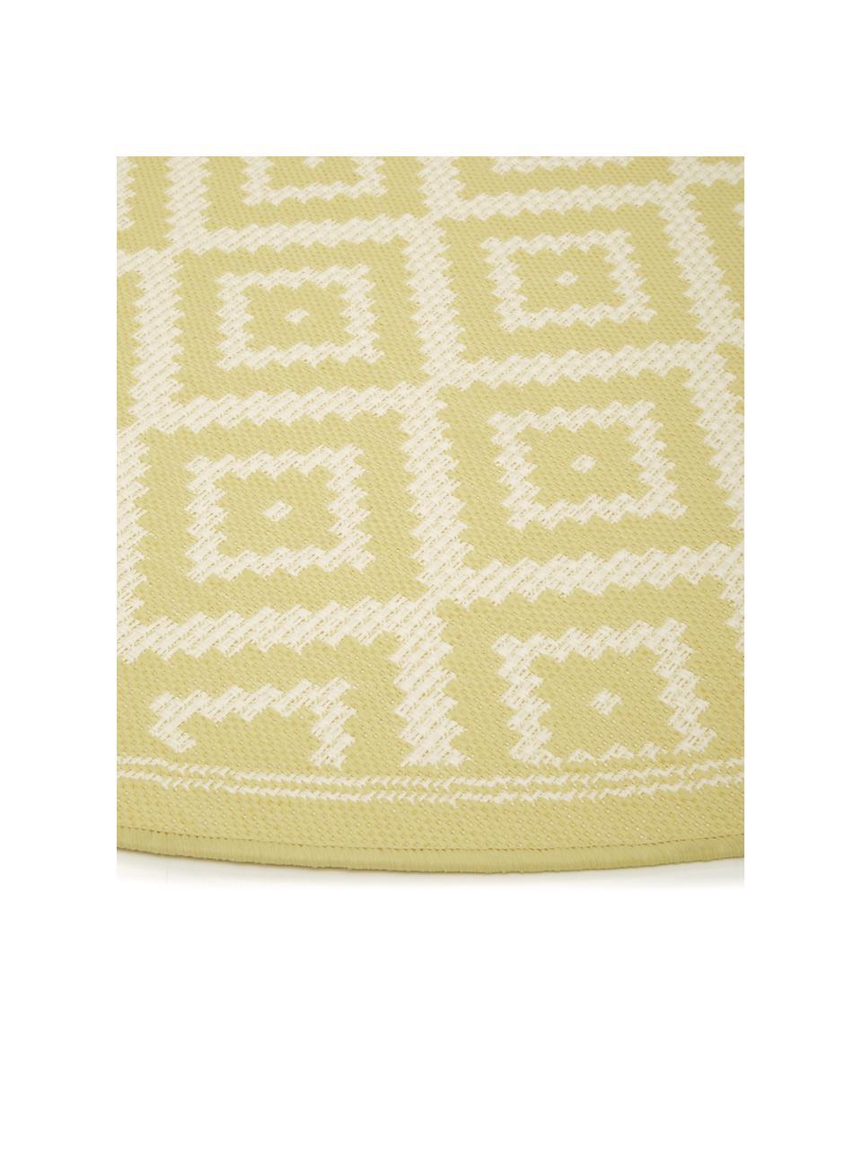 Gemusterter runder In- & Outdoor-Teppich Miami in Gelb/Weiß, 86% Polypropylen, 14% Polyester, Weiß, Gelb, Ø 200 cm (Größe L)