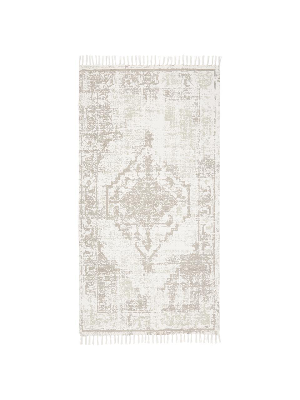 Ręcznie tkany dywan z bawełny w stylu vintage Jasmine, Beżowy, S 70 x D 140 cm (Rozmiar XS)