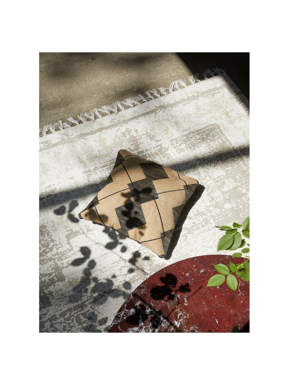 Dünner Baumwollteppich Jasmine in Beige/Taupe im Vintage-Style, handgewebt, Beige, B 70 x L 140 cm (Größe XS)
