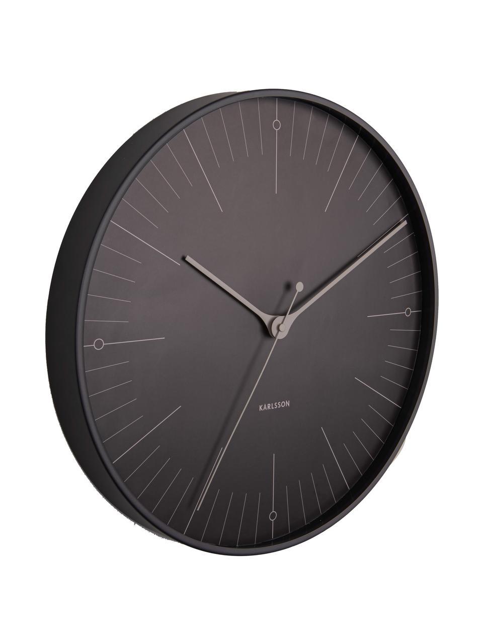 Wanduhr Index, Metall, beschichtet, Schwarz, Grau, Ø 40 cm