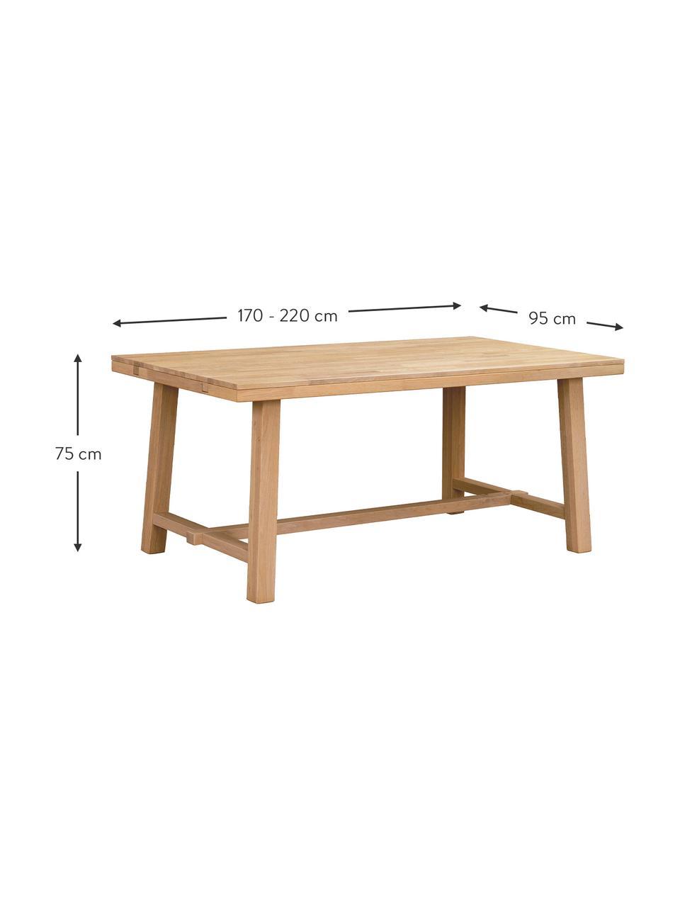 Verlengbare eettafel Brooklyn met massief houten blad, 170 - 220 x 95 cm, Massief geborsteld en gelakt eikenhout, Eikenhoutkleurig, B 170-220 x D 95 cm