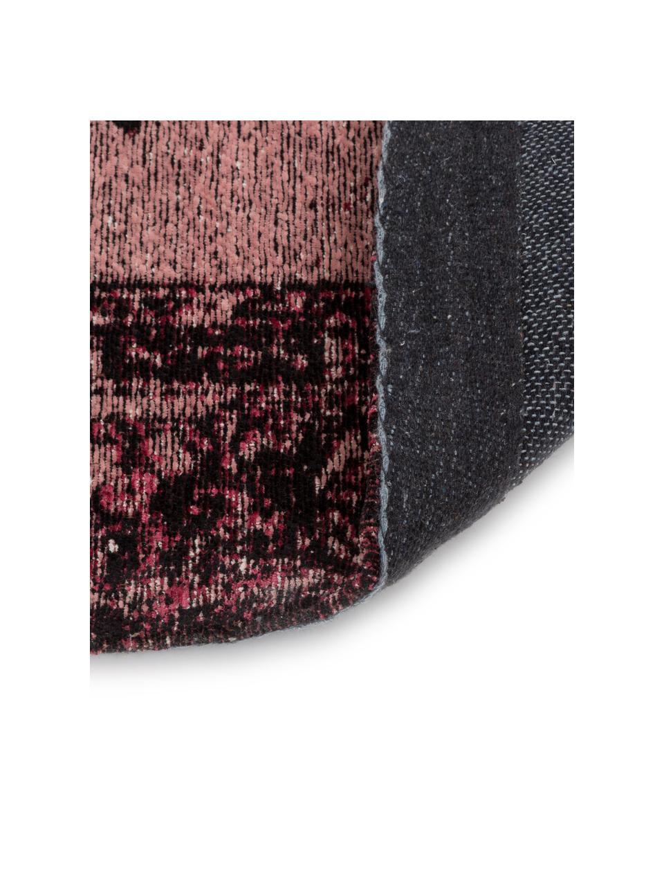 Vintage Chenilleteppich Milan in Rosa, handgewebt, Flor: 95% Baumwolle, 5% Polyest, Beerenfarben, Schwarz, Creme, B 120 x L 180 cm (Größe S)