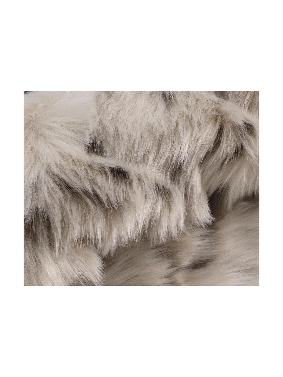 Puszysty koc ze sztucznego futra Skins, Przód:  biały, jasny brązowy, brązowy Tył: kość słoniowa, S 150 x D 200 cm