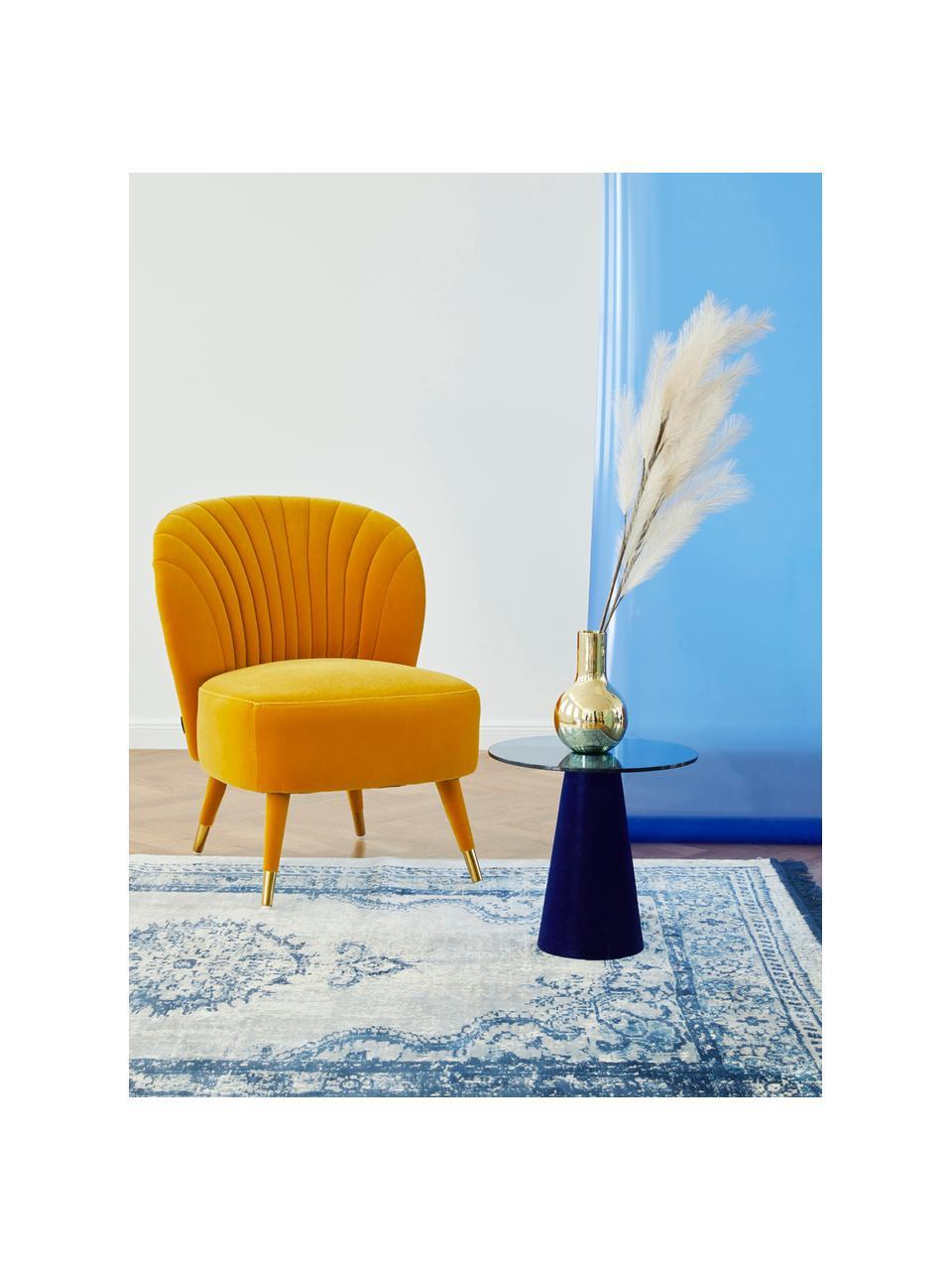 Poltrona in velluto giallo Well Dressed, Rivestimento: poliestere Il rivestiment, Gambe: legno di albero della gom, Velluto giallo ocra, Larg. 65 x Alt. 83 cm