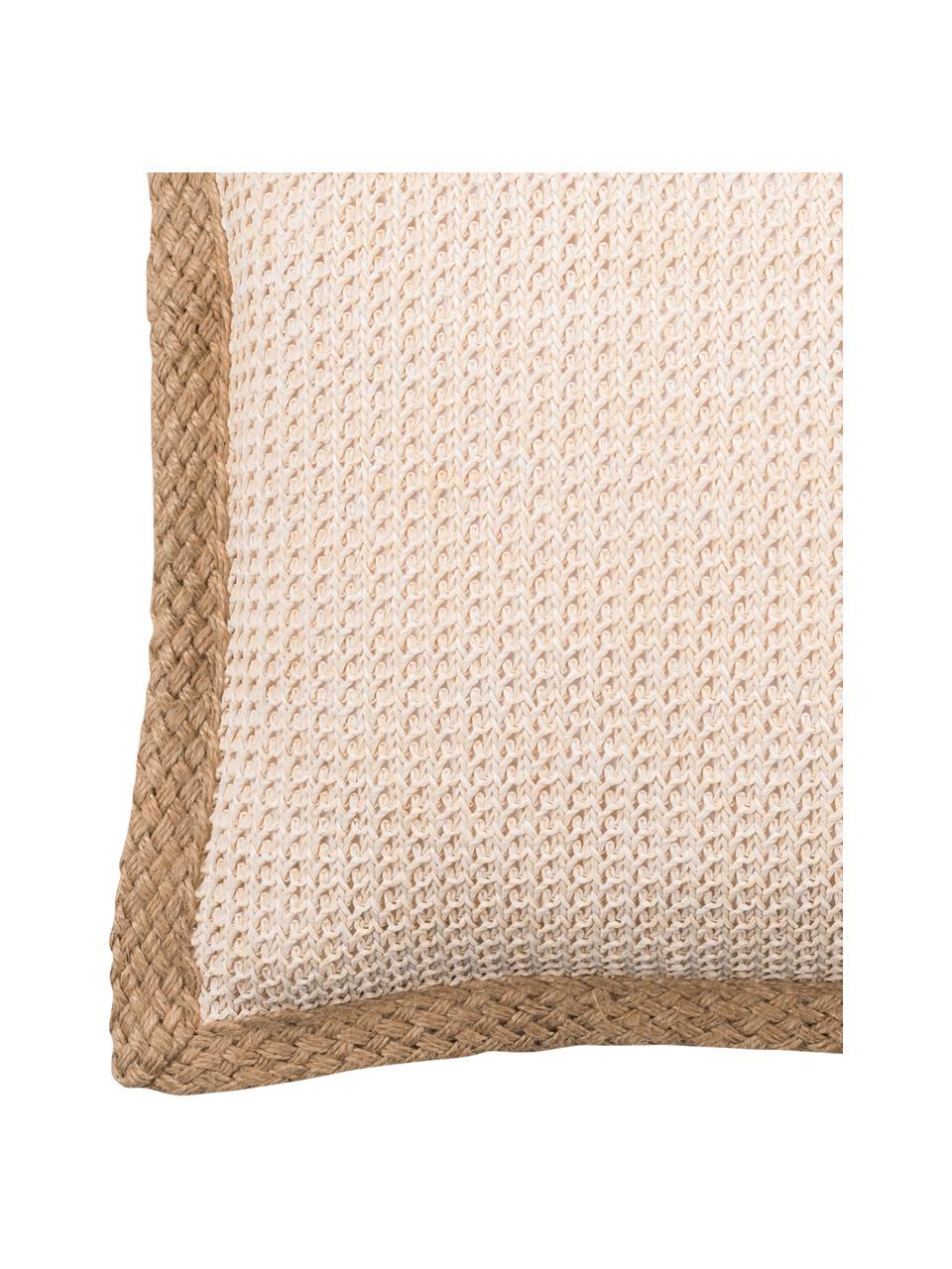Poszewka na poduszkę z lamówką z juty Tally, 50% juta, 50% bawełna, Biały, beżowy, S 45 x D 45 cm
