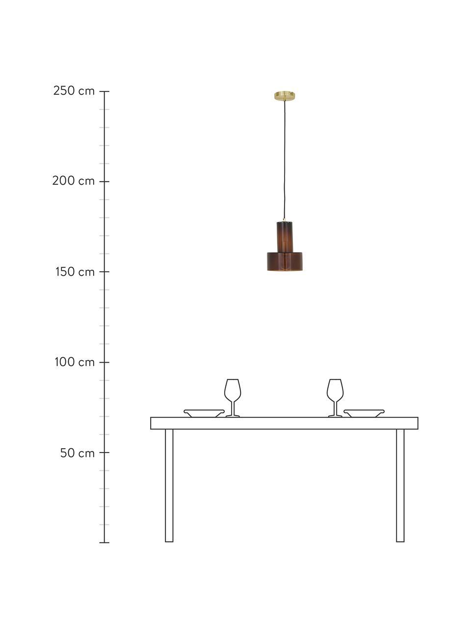 Lampada a sospensione in vetro Flowy, Paralume: vetro colorato, Baldacchino: ottone, Marrone trasparente, Ø 20 x Alt. 27 cm